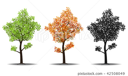 red, green and silhouettes tree 42508049