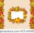 Vector autumn leaves square frame 42514048