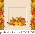 Vector autumn leaves square frame 42514050