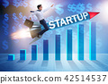 Businessman in start-up concept flying on rocket 42514537