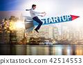Businessman in start-up concept flying on rocket 42514553