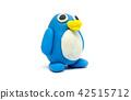Play dough penguin on white background 42515712
