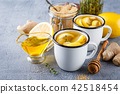 Cups of ginger tea with honey and lemon 42518454