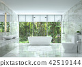 Modern luxury bathroom with nature view 3d render 42519144
