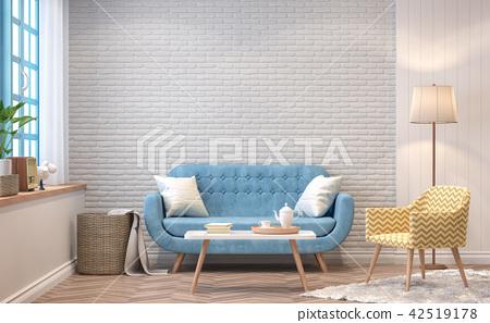 Vintage living room 3d render 42519178