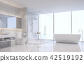 Modern white bathroom 3d render 42519192