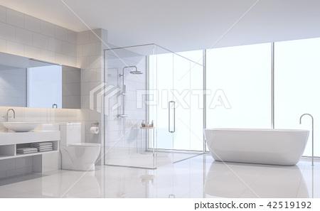 Modern white bathroom 3d render 42519192