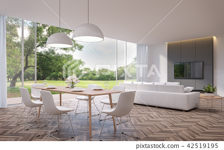 Modern dining and living room 3d render 42519195