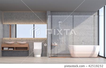 Modern loft bathroom 3d render 42519232