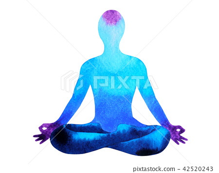 blue color chakra human lotus pose yoga abstract 42520243