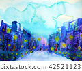 blue building city background watercolor painting 42521123