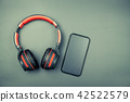 Top view of headphone and mobile phone in vintage 42522579