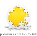 White spherical puzzle with missing pieces 42525348
