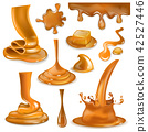 Caramel splash vector sweet flowing liquid sauce or pouring chocolate cream illustration set of 42527446