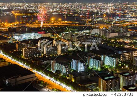 Osaka cityscape beautiful night view. 42533733