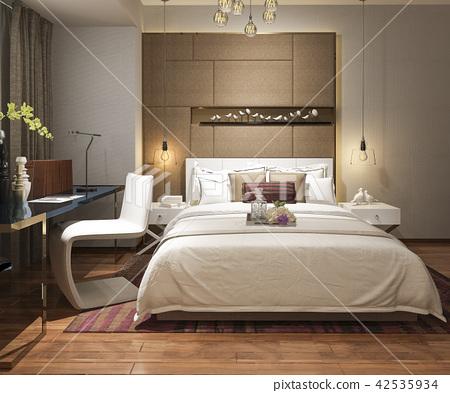 beautiful luxury bedroom suite in hotel with tv 42535934