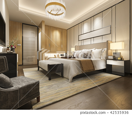 luxury modern bedroom suite in hotel with wardrobe 42535936