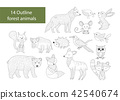 Big set of hand drawn forest illustraitions with color cartoon animals. 42540674