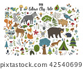 Big set of hand drawn forest illustraitions with color cartoon animals. 42540699