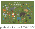 Big set of hand drawn forest illustraitions with color cartoon animals 42540722