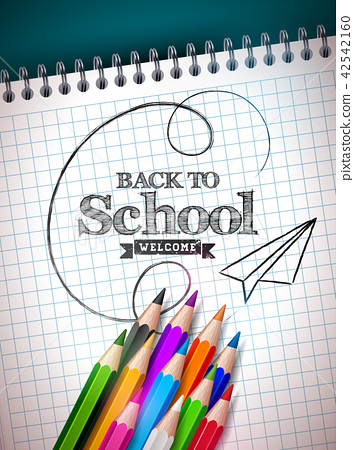 Back to school design with colorful pencil and notebook on blue background. Vector illustration with 42542160