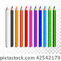 Design set of realistic colored pencils on transparent background. School items, colorful pencil 42542170