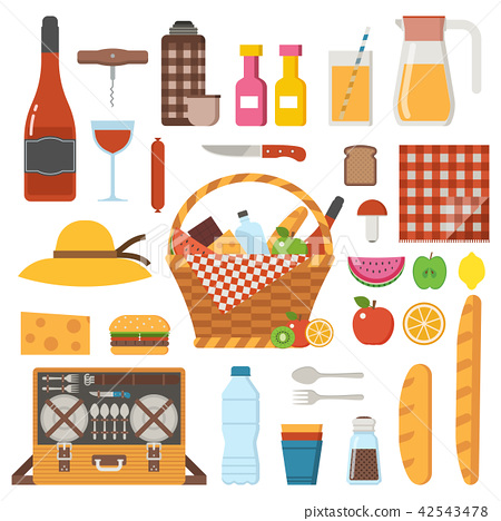 Picnic Party Icon Set with Straw Basket 42543478