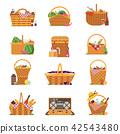 picnic, basket, wicker 42543480