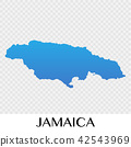 Jamaica map in North America continent 42543969