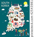 Map Of Korea Attractions Vector And Illustration. 42543981