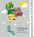 Thailand map with colorful landmarks illustration 42543983