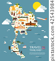 Thailand map with colorful landmarks illustration 42543984
