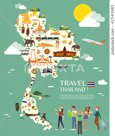 Thailand map with colorful landmarks illustration 42543985