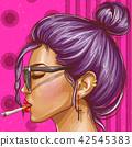 Vector pop art hipster girl smoking cigarette 42545383