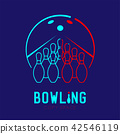 Bowling with pins logo icon outline stroke set 42546119