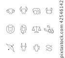 Zodiac constellation with shadow icon outline 42546142