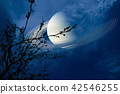 Saturn near earth sky silhouette dry branch tree 42546255