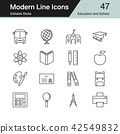Education and School icons. Modern line design. 42549832