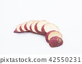 Slice sweet red potato isolated on white 42550231
