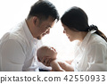 happy smiling family three people on white 42550933