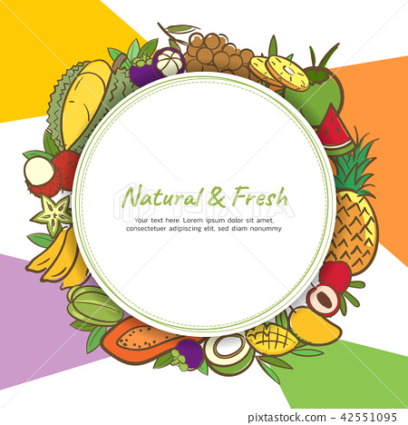 Tropical fruits cute banner background template 42551095