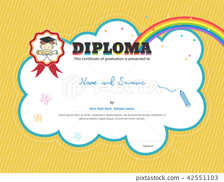 kids diploma or certificate template stock illustration 42551103