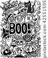 Doodle cartoon set of objects and symbols  42551505