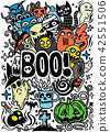 Doodle cartoon set of objects and symbols  42551506