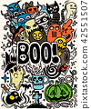 Doodle cartoon set of objects and symbols  42551507