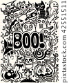 Doodle cartoon set of objects and symbols  42551511