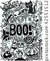 Doodle cartoon set of objects and symbols  42551512