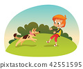 Cute smiling little boy playing with the dog at the neighborhood. Boy and his friend dog running 42551595