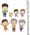 好朋友三代家庭和寵物狗 42552567