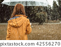 Female walking during rain outside 42556270